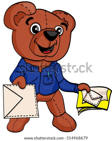 postman teddy bear with a letter in his hand - stock vector