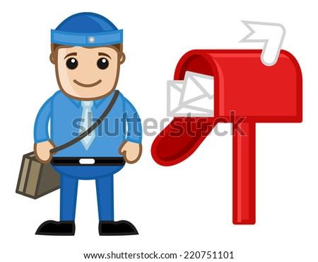 Postman - Vector Character Cartoon Illustration - stock vector
