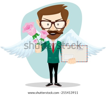 Postman with wings brought flowers and a letter, vector illustration - stock vector
