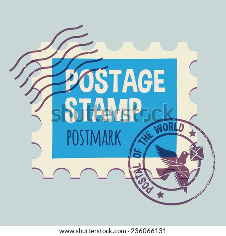 postmark template. None stroke, cartoon flat style. Vector illustration.  - stock vector