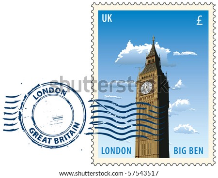 Postmark with night sight of London Big Ben tower - stock vector