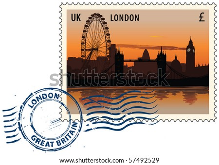 Postmark with night sight of London cityscape - stock vector