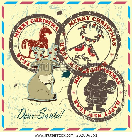 Postmarks  for New Year and Christmas. Set contains postmarks with   images of  Santa, bullfinches, rocking horse  and reindeer on vintage background.  - stock vector