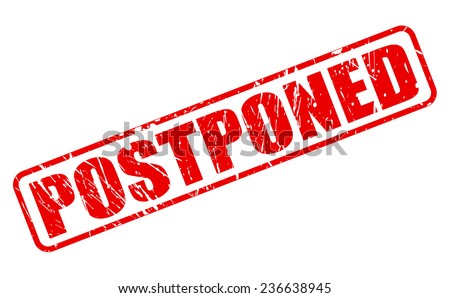 Postponed red stamp text on white - stock vector