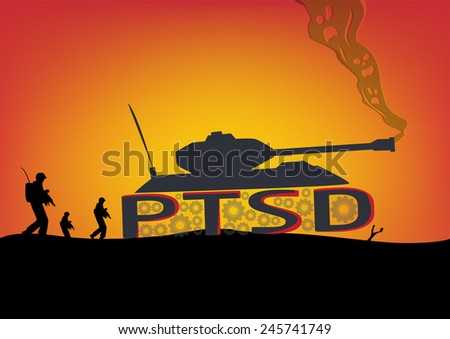 Posttramautic Stress Disorder Concept. Soldiers walk with War Tank built with PTSD letters as its wheels and skulls as smoke. - stock vector