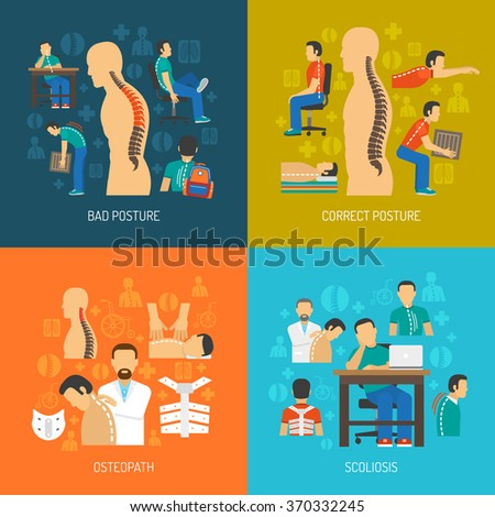 Posture 2x2 flat design concept set of people with scoliosis osteopath with  patient and corrective orthopedic products vector illustration  - stock vector