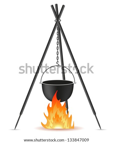 pot for cooking over a fire vector illustration isolated on white background - stock vector