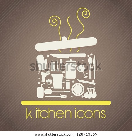 Pot formed by other kitchen items. On brown background - stock vector