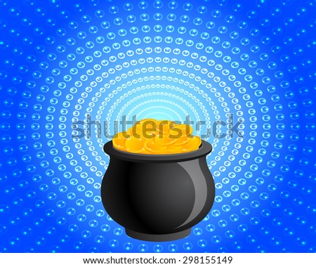 Pot of Gold Radiating Light  - stock vector