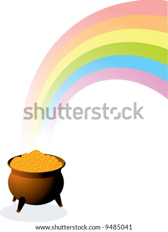 Pot of gold. Vector. - stock vector