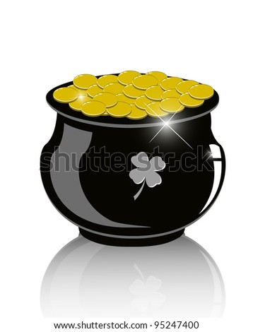 Pot of gold - Vector Illustration eps10 - stock vector