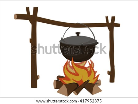 Pot on a fire - stock vector