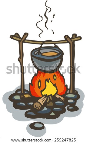 Pot on the Campfire. Color vector illustration on white background