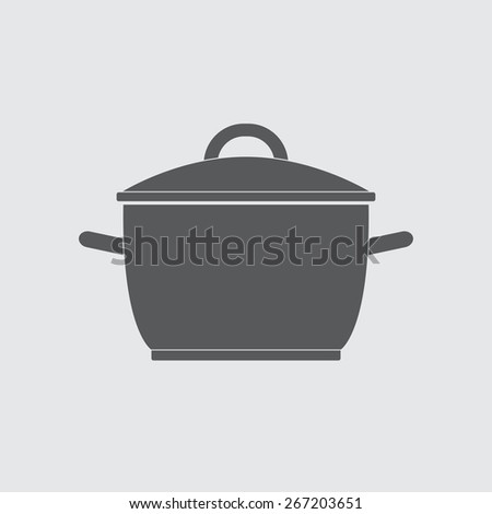 Pot or cooking pan icon. Saucepan silhouette. Vector illustration. - stock vector
