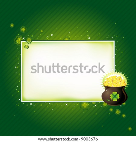 Pot with golden coins for St. Patrick's Day, vector illustration - stock vector