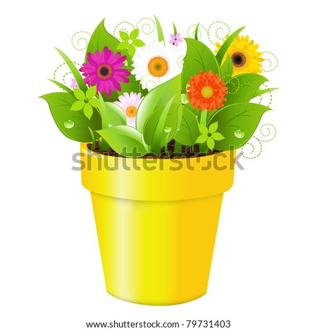 Pot With Grass And Flowers, Isolated On White Background, Vector Illustration - stock vector