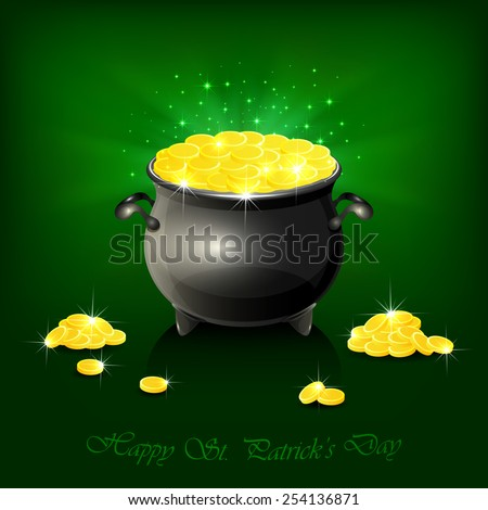 Pot with leprechauns golden coins on shiny green background, illustration. - stock vector