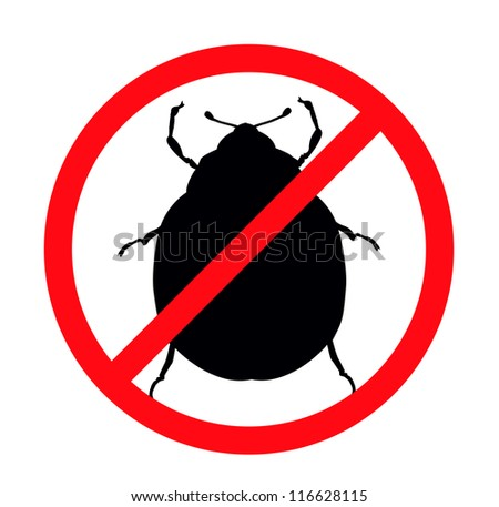 Potato beetle vector silhouettes isolated. Insect repellent emblem - stock vector