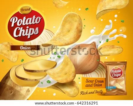 potato chips advertisement onion cream flavor stock vector royalty