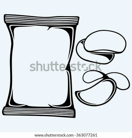 Potato chips and packaging. Isolated on blue background. Vector silhouettes - stock vector