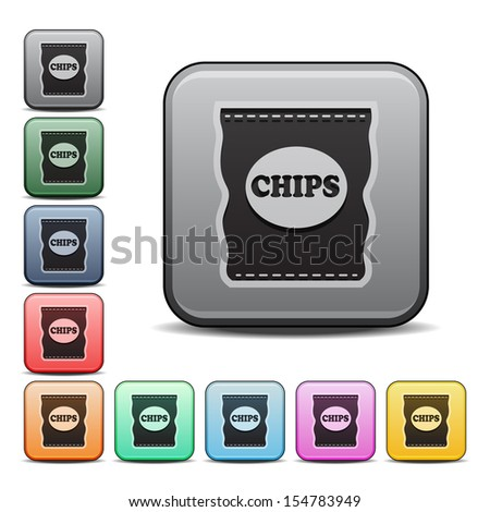 Potato Chips Bag Icon Square Icon in Various Colors - stock vector