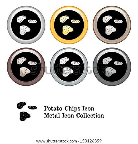 Potato Chips Icon Metal Icon Set - stock vector