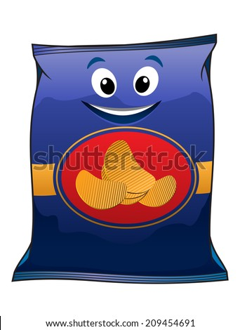 Potato chips packet cartoon character isolated on blue background for fast food design  - stock vector