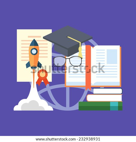 Potential of education concept. Colorful flat design icon.  Vector illustration - stock vector