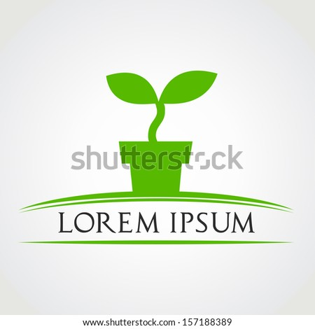 potted plant symbol vector - stock vector