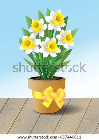 Potted white daffodils with a decorative yellow bow sitting on a wooden table outdoors
