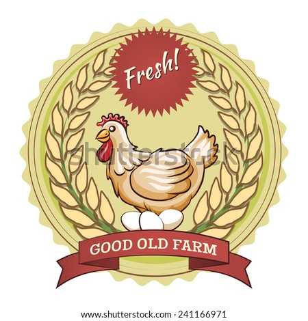Poultry farm badge, chicken and eggs. Sticker with a wavy stroke. Vector illustration - stock vector