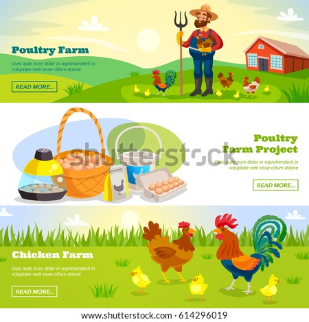 Poultry farm banners with cartoon scenery farmer and chicken characters and fresh products with read more button vector illustration