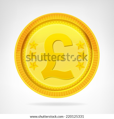 Pound coin golden currency object isolated vector illustration