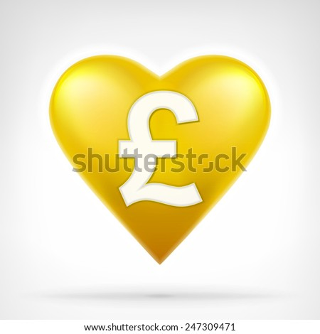 Pound coin shaped as golden heart at modern graphic design isolated vector illustration on white background  - stock vector