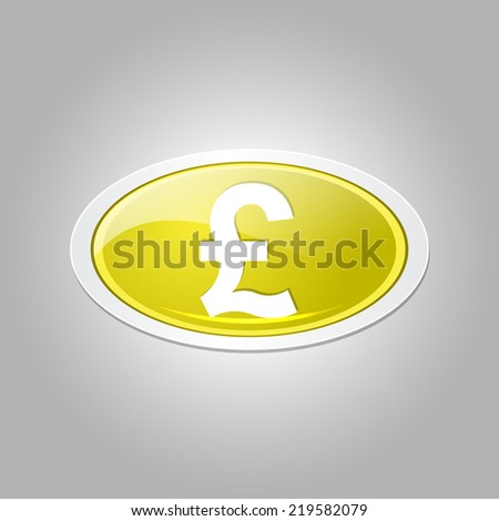Pound Currency Sign Circular Vector Yellow Web Icon Button