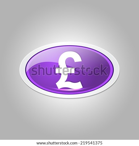 Pound Currency Sign Elliptical Vector Purple Web Icon Button