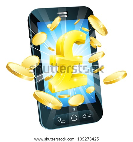 Pound money phone concept illustration of mobile cell phone with gold Pound sign and coins - stock vector