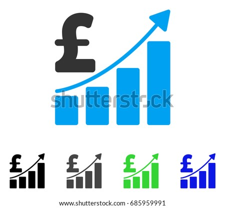 Pound Sales Growth Chart Flat Vector Stock Vector 685959991
