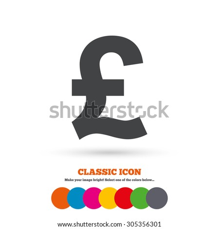 Pound Sign Icon Gbp Currency Symbol Stock Vector 305356301