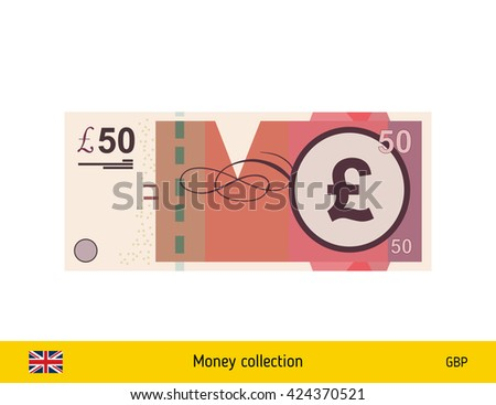 Pound sterling. Pound sterling banknote - stock vector