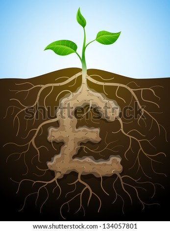 Pound sterling sign like root of plant. Roots and tuber in shape of pound symbol sprout. - stock vector