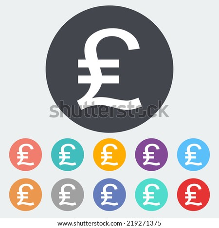 Pound sterling. Single flat icon on the circle. Vector illustration. - stock vector