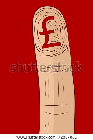 Pound Symbol Fingerprint - stock vector