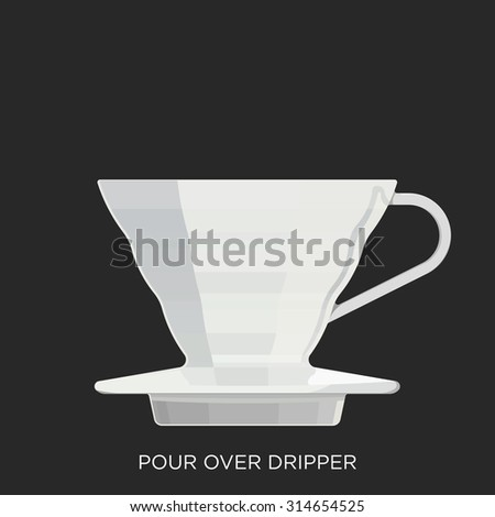 Pour Over Dripper - stock vector