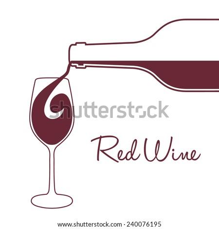vector illustration wine pouring bottle glass stock vector