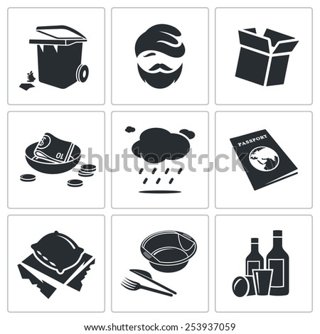 Poverty and homelessness Vector Icons Set - stock vector