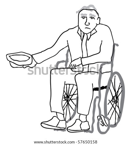 Poverty stricken disabled senior in wheelchair begging for money - stock vector