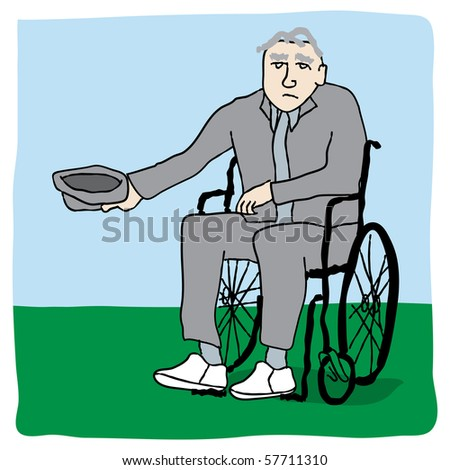 Poverty stricken disabled senior in wheelchair begging for money in park - stock vector