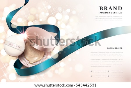 Powder cushion ads, golden pink product with blue ribbon isolated on sparkling bokeh background, 3d illustration