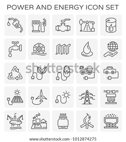 Power and energy icon set.